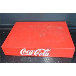 Vintage Metal Coca-Cola Riser & Pop Shoppe Bottles