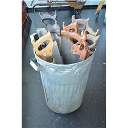 Vintage Garbage Can & Old Hand Saws