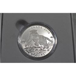 2016  $100 Fine Silver Coin - Cougar