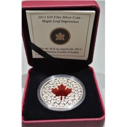 2013 $20 Silver Coin - Maple Leaf Impressions