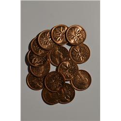 BU 1957 Canadian Pennies