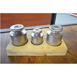 Set of three vintage scale weights (2- 10lbs & 1-5lb)