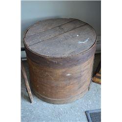 Old round wooden box