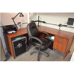 Newer L - Shaped Desk & Leather Chair
