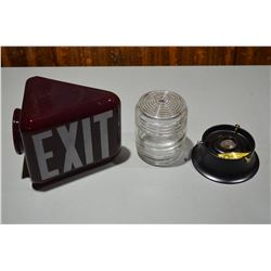 Vintage Exit globe & New Industrial Light