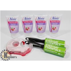 BAG OF NAIR HAIR REMOVAL CREAM AND MORE