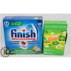 BAG OF GAIN DRIER SHEETS AND FINISH DISHWASHER