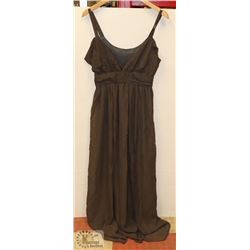 SIZE LARGE BROWN-GREY CHIFFON SUMMER DRESS FLOOR