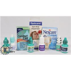 BAG OF ASSORTED EYE DROPS AND CLEANSERS