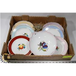 FLAT OF VINTAGE FRUIT DINNER PLATES AND LARGE