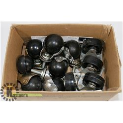 BOX OF CASTERS, 2 SETS OF 4 AND 1 SET OF 3