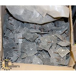 BOX OF NAILS WITH METAL PLATES ATTACHED
