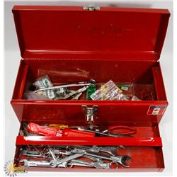 RED MASTERCRAFT TOOL BOX WITH ASSORTED TOOLS AND
