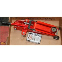 RED CAR JACK HEAVY DUTY AND 25 PIECE TOOL KIT