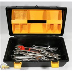 BLACK AND YELLOW TOOL BOX WITH TOOLS