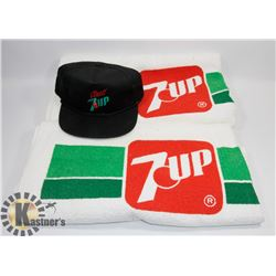 2 VINTAGE 7UP TOWELS AND 7UP BALL CAP.