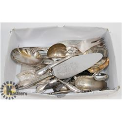 BOX OF ASSORTED SILVERWARE.
