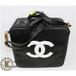 CHANEL REPLICA BLACK BAG WITH WHITE LOGO