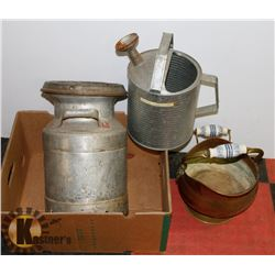 ESTATE BOX WITH CREAM CAN, WATERING CAN, AND