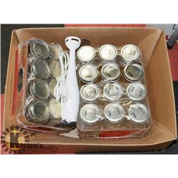 NEW 2  CASES CANNING JARS  + ELECTRIC HAND MIXER