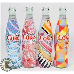 SET OF 4 DIET COKE  12 OZ  GLASS BOTTLES