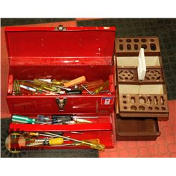 TOOL BOX WITH ASSORTED TOOLS & TOOL ORGANIZER