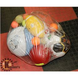 LOT OF ASSORTED BALLS AND MONGOOSE VOLLEYBALL NET