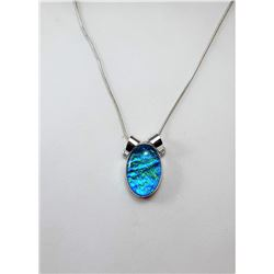 14)  BLUE FIRE OPAL OVAL PENDANT ON