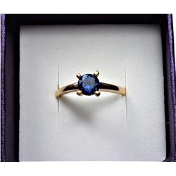 8)  18k GOLD PLATED BLUE CRYSTAL SOLITAIRE