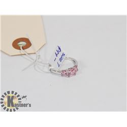 STERLING SILVER PINK CZ RING SIZE 7.