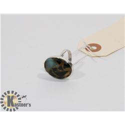 STERLING SILVER ONYX COPPER COMPOSITION RING