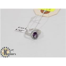STERLING SILVER AMETHYST CZ RING SIZE 6.