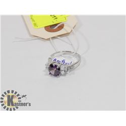 STERLING SILVER AMETHYST CZ RING SIZE 9.