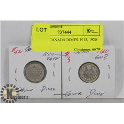 LOT OF 2 CANADA DIMES-1913, 1920