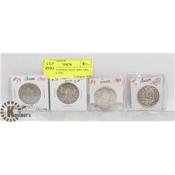 LOT OF 4 CANADA HALF DOLLARS, 1943, 1940, 1943,