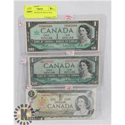 LOT OF 3 CANADA $1 BILLS 1954, 1967, 1973