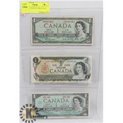 LOT OF 3 - CANADA $1 BILLS 1954, 1973,