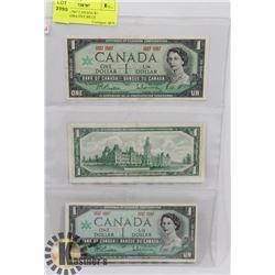 LOT OF 3 -1967 CANADA $1 COMMEMORATIVE BILLS