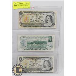 LOT OF 3 -1973 CANADA $1 BILLS