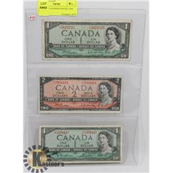 LOT OF 3 - CANADIAN NOTES, 1954 $1, 1954 $2