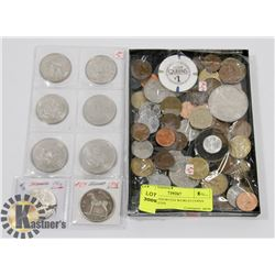 LOT OF ASSORTED WORLD COINS AND TOKENS