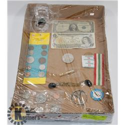 FLAT OF ASSORTED COINS, JEWELLERY AND MORE