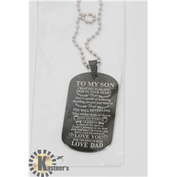 """NEW """"TO MY SON"""" LOVE DAD. BLACK TONE NECKLACE"""