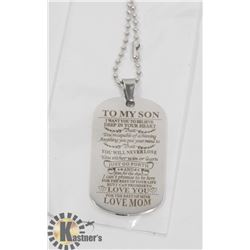 """NEW """"TO MY SON"""" LOVE MOM. SILVER TONE NECKLACE"""