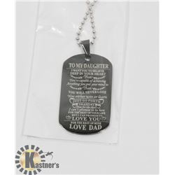 """""""TO MY DAUGHTER"""" LOVE DAD. BLACK TONE NECKLACE"""