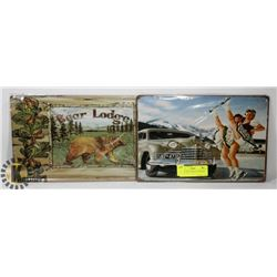 "PAIR OF 10"" X 7"" METAL TIN SIGNS"