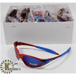 CASE OF RED/ BLUE OAKLEY STYLE SUNGLASSES