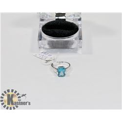 STERLING .925/SILVER STAMPED SIZE 7 CUBIC BLUE