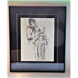 5)  FRAMED, DOUBLE MATTED UNDER GLASS