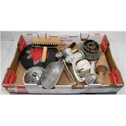 BOX OF ANTIQUE KITCHEN UTENSILS GRINDER.